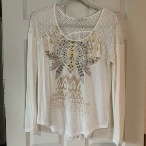 Miss Me cream long sleeve top.